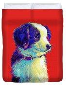 Border Collie Puppy Duvet Cover by Jane Schnetlage
