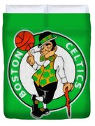 Boston Celtics Canvas Duvet Cover by Dan Sproul