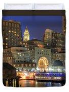 Boston Harbor Party Duvet Cover by Joann Vitali