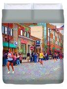 Boston Marathon Mile Twenty Two Duvet Cover by Barbara McDevitt