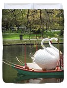 Boston Swan Boats Duvet Cover by Barbara McDevitt