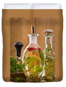 Bottles Of Olive Oil Duvet Cover by Amanda And Christopher Elwell