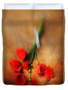 Bouquet Of Red Poppies And White Ribbon Duvet Cover by Jaroslaw Blaminsky