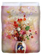 Bouquet Of Flowers In A Japanese Vase Duvet Cover by Odilon Redon