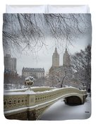 Bow Bridge Central Park in Winter  Duvet Cover by Vivienne Gucwa