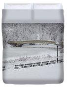 Bow Bridge Central Park Winter Wonderland Duvet Cover by Susan Candelario