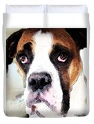 Boxer Art - Sad Eyes Duvet Cover by Sharon Cummings