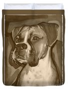 Boxer Dog Sepia Print Duvet Cover by Robyn Saunders