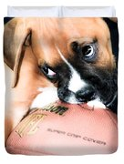 Boxer Puppy Cuteness Duvet Cover by Peggy  Franz