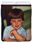 Boy In Blue Shirt Duvet Cover by Kenneth Cobb
