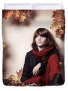 Boy Sitting On Autumn Leaves Artistic Portrait Duvet Cover by Oleksiy Maksymenko