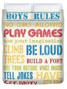 Boys Rules Duvet Cover by Debbie DeWitt