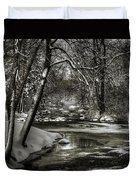 Brainards Bridge After A Snow Storm 4 Duvet Cover by Thomas Young