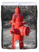 Brand New Red Hydrant On Bw Duvet Cover by Jeff at JSJ Photography