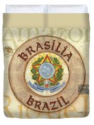 Brazil Coat Of Arms Duvet Cover by Debbie DeWitt
