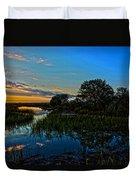 Break Of Dawn Over Low Country Marsh Duvet Cover by Savlen Art