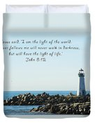 Breakwater Lighthouse Santa Cruz With Verse  Duvet Cover by Barbara Snyder