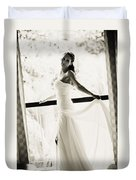 Bride At The Balcony. Black And White Duvet Cover by Jenny Rainbow