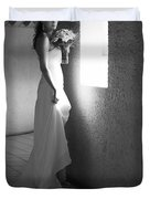 Bride at the Window I. Black and White Duvet Cover by Jenny Rainbow