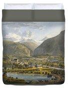 Brig On The Rhone, Bernese Alps Duvet Cover by Swiss School