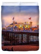 Brighton's Palace Pier At Dusk Duvet Cover by Chris Lord