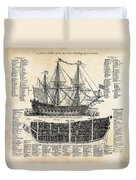 British Ships Of War  1728 Duvet Cover by Daniel Hagerman