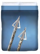 Broadheads On Blue Duvet Cover by Jerry McElroy