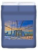 Brooklyn Bridge At Dusk Duvet Cover by Randy Aveille