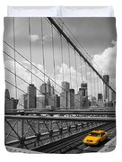 Brooklyn Bridge View Nyc Duvet Cover by Melanie Viola