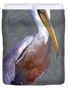 Brown Pelican Duvet Cover by Elaine Hodges