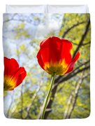 Bryant Park Tulips New York  Duvet Cover by Angela A Stanton