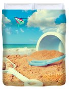 Bucket And Spade On Beach Duvet Cover by Amanda And Christopher Elwell