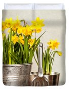 Buckets Of Daffodils Duvet Cover by Amanda And Christopher Elwell