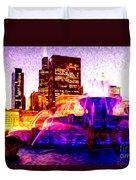 Buckingham Fountain At Night Digital Painting Duvet Cover by Paul Velgos