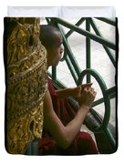 Buddhist Monk Leaning Against A Pillar Sule Pagoda Central Yangon Myanar Duvet Cover by Ralph A  Ledergerber-Photography