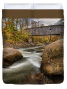 Bulls Bridge Autumn Square Duvet Cover by Bill Wakeley