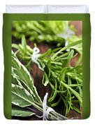 Bunches Of Fresh Herbs Duvet Cover by Elena Elisseeva
