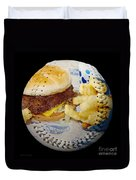 Burger And Fries Baseball Square Duvet Cover by Andee Design