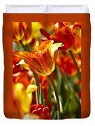 Tulips-flowers-tulips Burning Duvet Cover by Matthew Miller