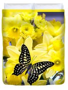 Butterfly Among The Daffodils Duvet Cover by Edward Fielding