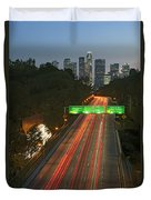 Ca 110 Pasadena Freeway Downtown Los Angeles At Night With Car Lights Streaking_2 Duvet Cover by David Zanzinger