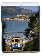 Cable Car In San Francisco Duvet Cover by Brian Jannsen