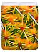Cactus Pattern 2 Yellow Duvet Cover by Amy Vangsgard
