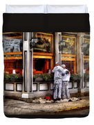 Cafe - The Painters Duvet Cover by Mike Savad