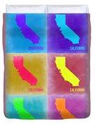 California Pop Art Map 2 Duvet Cover by Naxart Studio