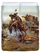 Camp Cooks Trouble Duvet Cover by Charles Russell