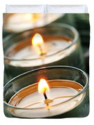 Candles on green Duvet Cover by Elena Elisseeva