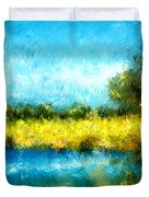 Canola Fields Impressionist Landscape Painting Duvet Cover by Michelle Wrighton