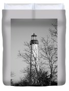 Cape May Light B/w Duvet Cover by Jennifer Lyon