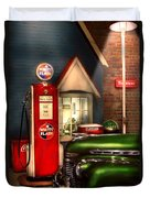 Car - Station - White Flash Gasoline Duvet Cover by Mike Savad